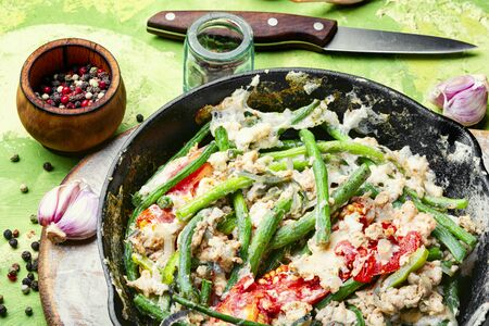 Protein scrambled eggs with asparagus beans. Fried eggs with vegetables.Fitness food