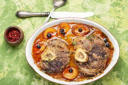 Ossobuco,traditional dish of Italian cuisine.Prepared osso buco veal