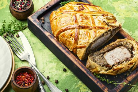 Homemade beef Wellington.Meat, baked in puff pastry Reklamní fotografie