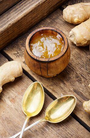Jam from ginger.Ginger jam.Autumn or winter dessert for tea
