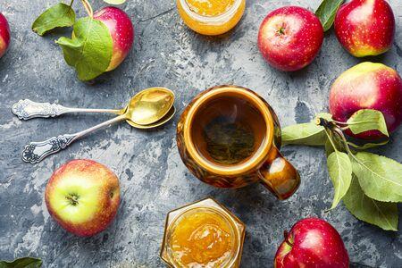 Jam from red apples.Apple jam.Autumn dessert.Flat lay 写真素材 - 128906172