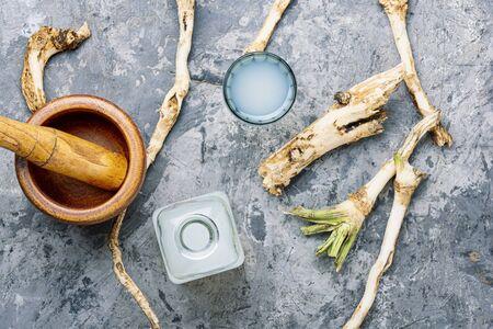 Traditional alcoholic drink from horseradish roots.Fresh horseradish root