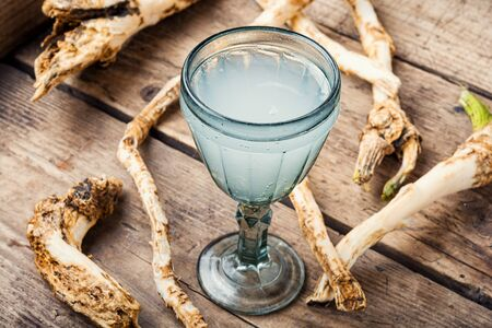 Traditional alcoholic drink from horseradish roots.Russian or Ukrainian cuisine