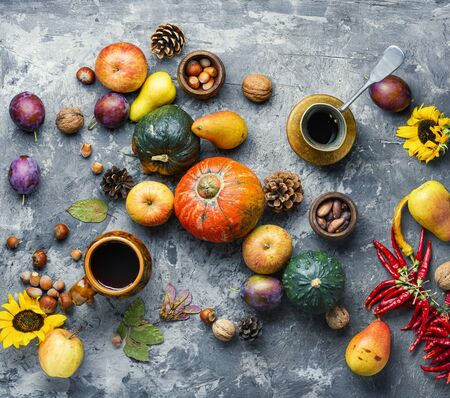 Autumn composing with pumpkin, fruit and fall leaves.Fall still life