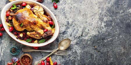 Baked chicken with dogwood.Roast chicken in berry sauce