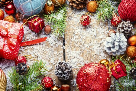 Christmas background with gift boxes and decorations.Xmas composition