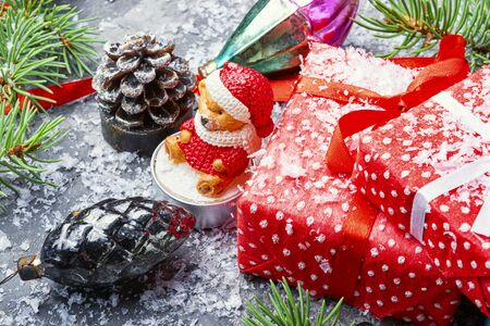 Christmas background with red gift box and decor.Xmas composition 写真素材