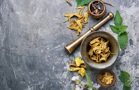 Mortar and bowl of raw and dried healing herbs.Assorted natural medical herbs Stock fotó