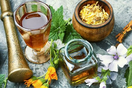 Healing herbs with mortar and bottle of elixir.Alternative or herbal medicine Stok Fotoğraf