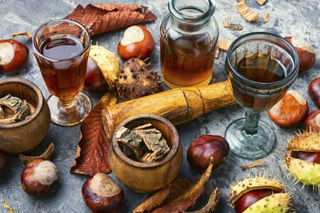 Chestnut and ingredients in homeopathy medicine.Alternative medicine herbal