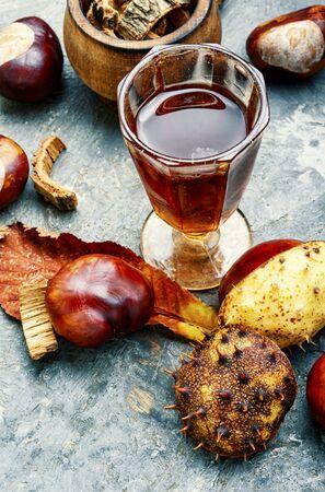 Chestnut and ingredients in homeopathy medicine.Alternative medicine herbal