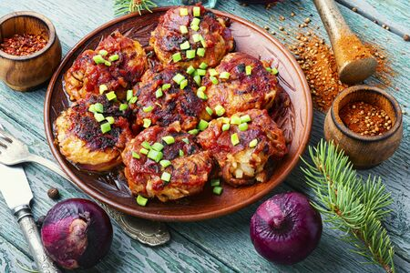 Red Onion Cutlets.Diet Food.Onion Cutlets.Healthy Nutrition.Vegetarian Food