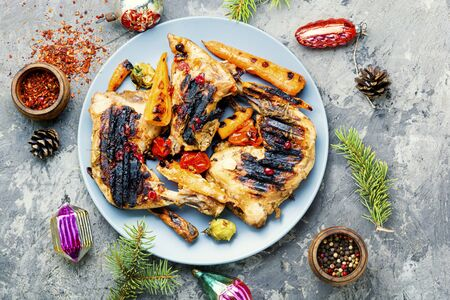 Christmas food grilled chicken legs.Roasted chicken leg with spicy