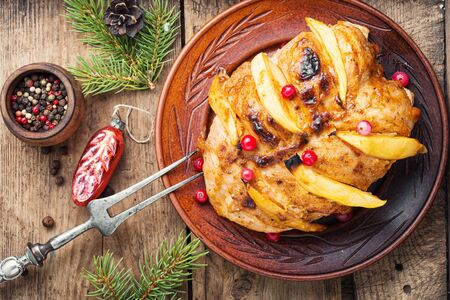 Plate of grilled chicken.Grilled chicken breast with mango.Christmas baked chicken 写真素材