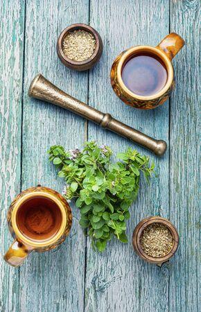 Medicinal tea from marjoram leaves.Herbal tea with oregano