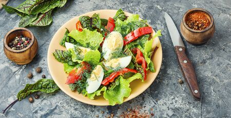 Spring diet salad with greens and egg.Salad with egg,sorrel and pepper