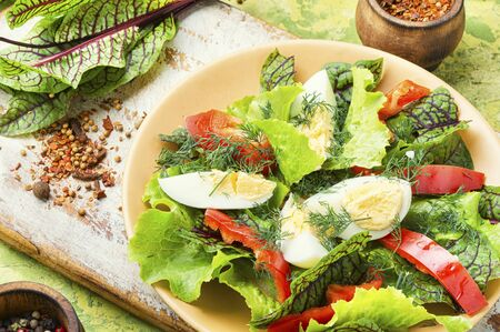 Spring diet salad with greens and egg.Fresh mixed green salad with egg