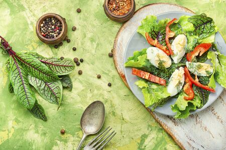 Spring diet salad with greens and egg.Summer salad