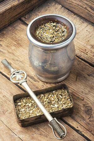 Calabash and bombilla with yerba mate.Yerba mate tea