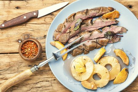 Baked duck breast with pineapple sauce.Grilled duck breast slices Stok Fotoğraf - 134448041