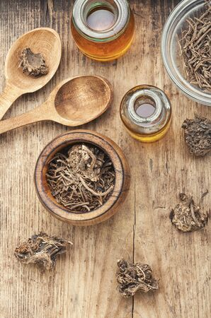 Medicinal tincture from the roots and rhizomes of valerian.Valeriana officinalis