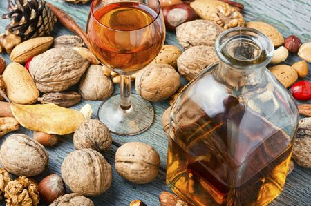 Fragrant nutty liquor tincture.Walnut liquor, sweet table alcoholic drink