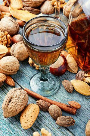 Fragrant nutty liquor tincture.Walnut liquor, sweet table alcoholic drink