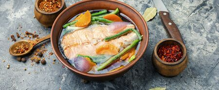 Appetizing dietary boiled salmon or trout.Fish soup.Long banner