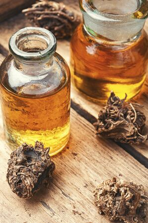 Medicinal tincture from the roots and rhizomes of valerian.Alternative medicine Stock Photo