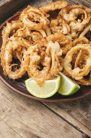 Fried squid or calamari rings with sauce