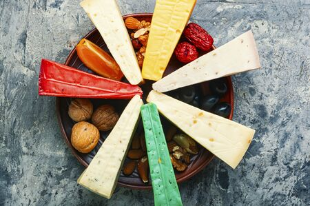 Various types of cheese or cheese plate