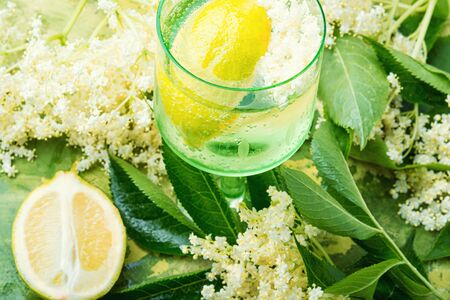 Summer drink from elderberry and lemon inflorescences.Cooling drink.Floral champagne. Stok Fotoğraf