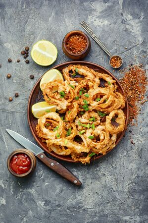 Crunchy deep fried squid rings in batter Stok Fotoğraf