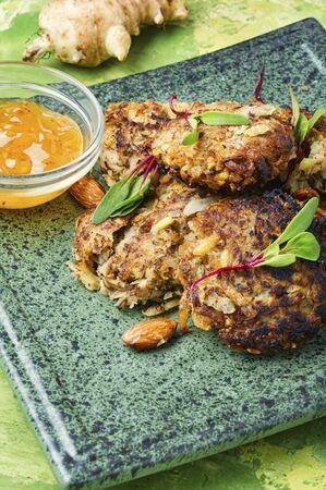 Diet menu,Jerusalem artichoke vegetable cutlets.Vegetable cutlets.Healthy nutrition.
