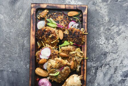 Diet menu,Jerusalem artichoke vegetable cutlets.Vegetable cutlets on kitchen board