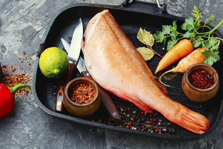 Whole raw fresh red perch or seabass.