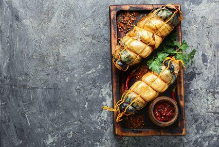 Appetizing fish roll made from smoked mackerel. Stock fotó
