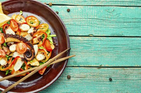 Appetizing spring or summer salad with vegetables and octopus.Copy space