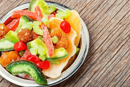 Healthy food,mix dried fruits.Healthy assorted dried fruit on a plate.Mix of dried fruits Stock Photo
