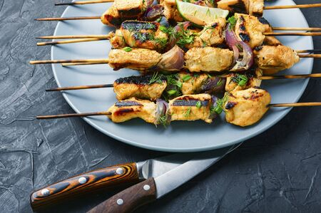 Grilled chicken on bamboo skewers,chicken shashlik.Food for a picnic Stock Photo