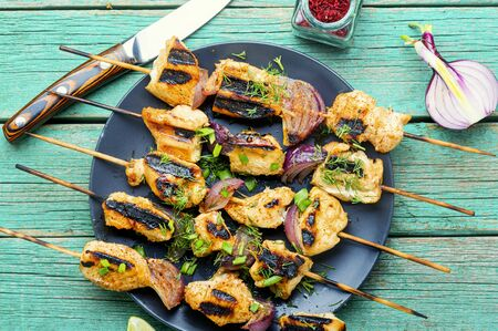 Grilled chicken on bamboo skewers,chicken shashlik.Food for a picnic.Bbq meat on wooden skewers Stock Photo