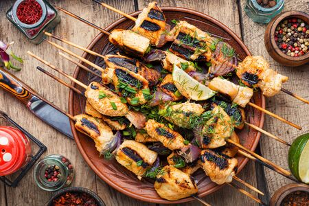 Barbecue of chicken on skewers with onion.Grilled chicken skewers Stock Photo