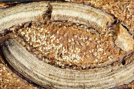 Appetizing homemade buckwheat bread loaf with banana