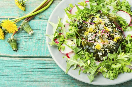 Dietary salad of seaweed, herbs, sesame seeds and radishes