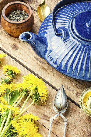 Fragrant herbal tea from flowering dandelions.Flower tea