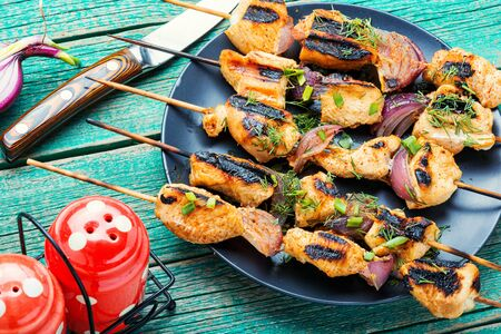 Barbecue of chicken on skewers with onion.Grilled meat skewers