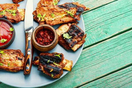 Delicious grilled veal ribs, fried beef ribs.BBQ grilled ribs