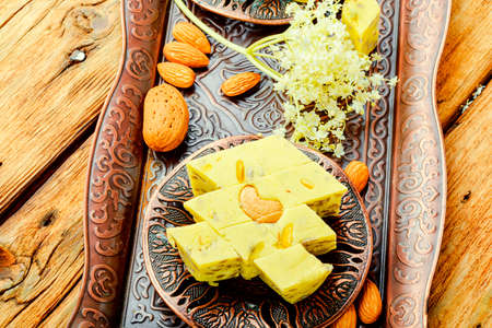 Traditional sweet oriental halva dessert.Diet halva or halvah