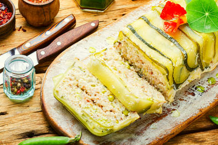 Delicious homemade chicken and zucchini meat terrine.French cuisine