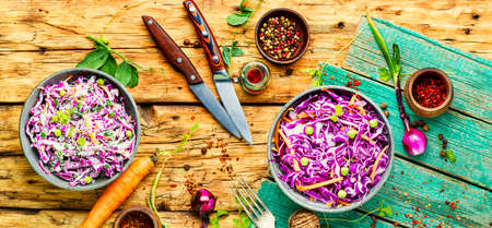 Vegetables salad with purple cabbage.Coleslaw in a bowl.Healthy eating